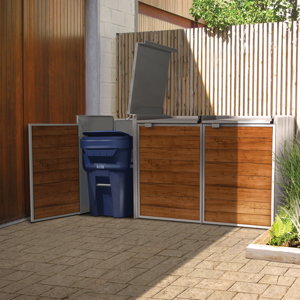 Urbin Triple - Modern Outdoor Trash Storage Solution - Front View Lid Open