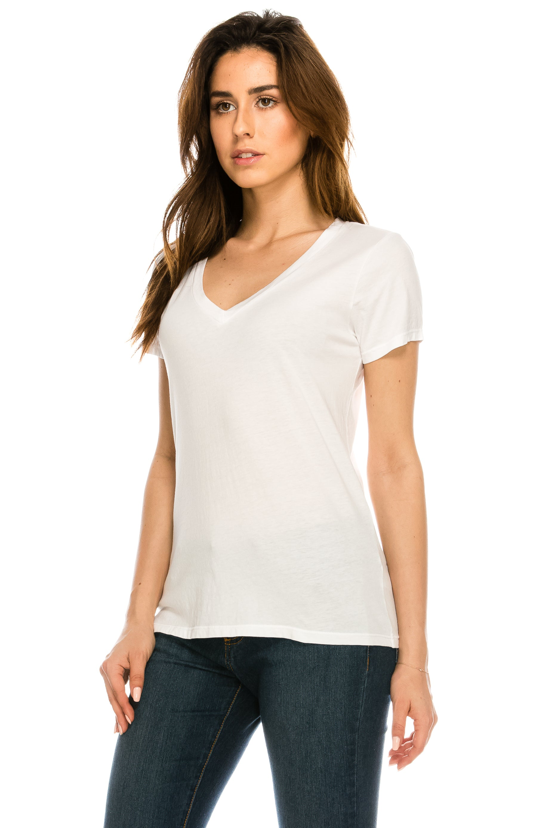 WOMENS S/S PIMA COTTON V NECK TEE - MolaInc