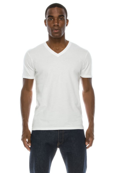 Mens S/S Combed Cotton V Neck Tee - MolaInc