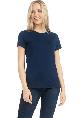 WOMENS S/S COMBED COTTON CREW NECK POCKET TEE - MolaInc