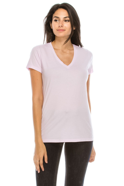 WS Womens S/S Combed Cotton V Neck Tee - MolaInc