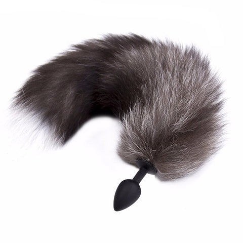 17.5″ Black and White Fox Tail Silicone Butt Plug