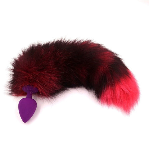 15.5″ - 16.5″ Black and Pink Fox Tail Silicone Plug