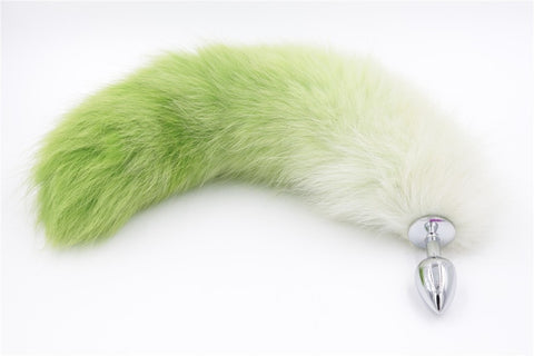 15.5″ - 16.5″ Green Tint Fox Tail Plug with Metal Anal Plug
