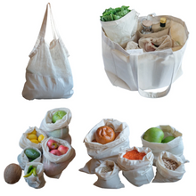 Load image into Gallery viewer, Organic cotton Shopping Bag Set