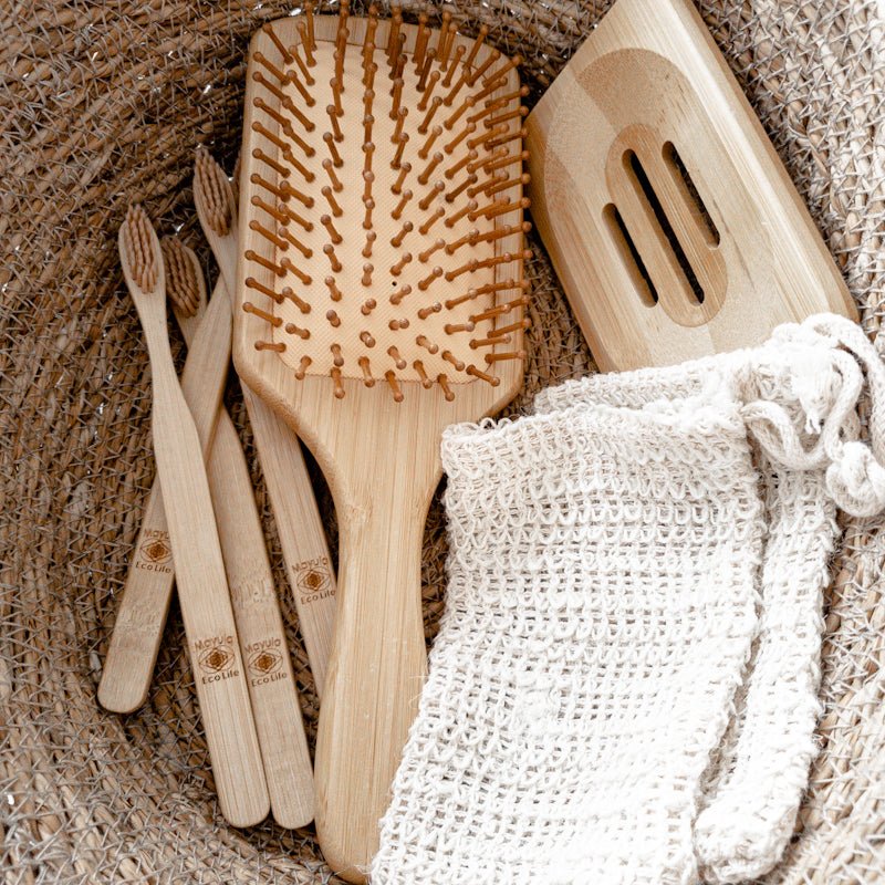 Bamboo brush , bamboo tray , bamboo toothbrushes , soap bag