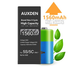 Load image into Gallery viewer, AUXDEN iPhone 5S/5C Battery 1560mAh High Capacity with Repair Tools