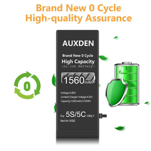 AUXDEN iPhone 5S/5C Battery 1560mAh High Capacity with Repair Tools
