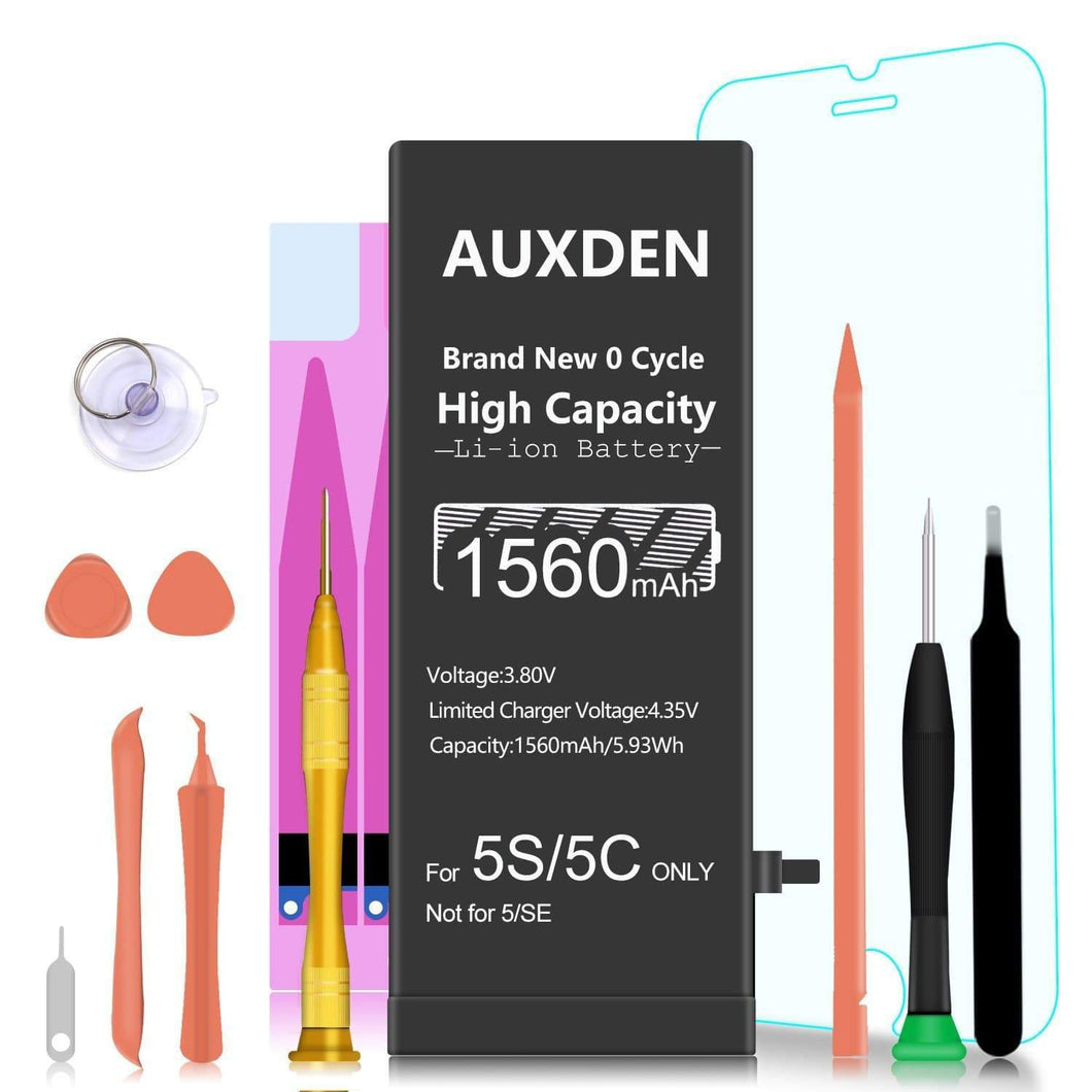 AUXDEN iPhone 5S/5C Battery 1560mAh with Repair Tools