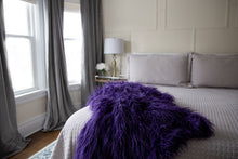 Load image into Gallery viewer, american made grape purple long faux fur bedroom blanket or throw for hotel decor