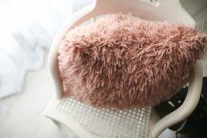 super soft and fuzzy, pink, luxury faux fur pillow. made in america