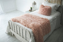Load image into Gallery viewer, soft peach, faux fur, girl's bedroom blanket on bed