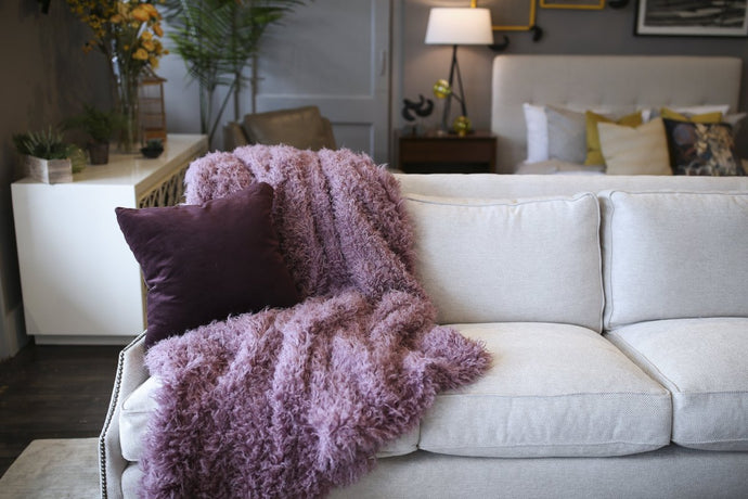 Thick and Heavy Weighted Curly Purple Vegan Faukati™ Girl's Fur Blanket. Made in America by Furmanity