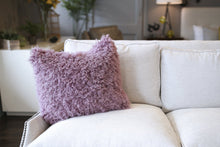 Load image into Gallery viewer, Gorgeous Curly Purple Vegan Faukati™ Fur Pillow with Washable Case. Handmade in New York, USA by FuRmanity