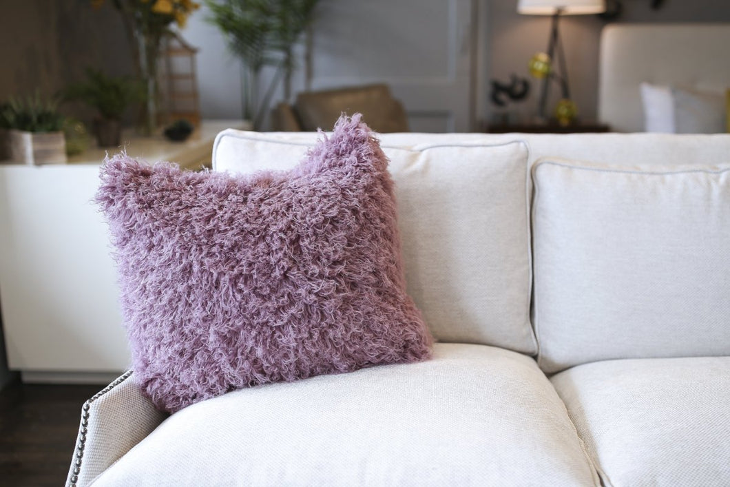 Gorgeous Curly Purple Vegan Faukati™ Fur Pillow with Washable Case. Handmade in New York, USA by FuRmanity