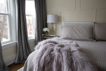 Load image into Gallery viewer, light purple faux fur bedroom blanket for sexy or sensual bedroom decor
