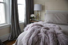 Load image into Gallery viewer, purple silver super heavy and warm luxury, high end, faux fur blanket on bed