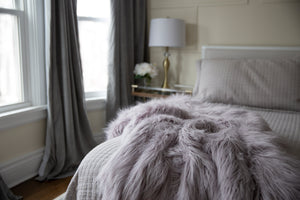purple silver super heavy and warm luxury, high end, faux fur blanket on bed