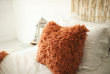Load image into Gallery viewer, curly orange faux fur pillow in living room. American made