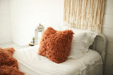 Load image into Gallery viewer, orange faux fur luxury pillow for fall or autumn home decorating