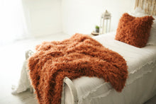 Load image into Gallery viewer, luxury orange two piece faux fur throw blanket and matching pillow set on white bed