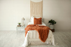 beautiful handmade orange, luxury, fur bedding with matching pillow
