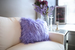 Girl's Bedroom Vibrant Purple Vegan Fur Pillow