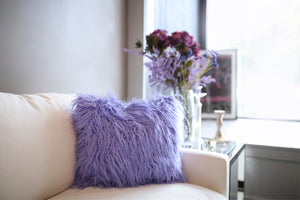 Vibrant Purple Vegan Fur Pillow | Aster - Furmanity
