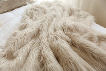 Load image into Gallery viewer, double sided, luxury, faux fur blanket on white bed. thick and incredibly warm winter blanket