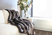 Load image into Gallery viewer, black and gray or silver striped plush chinchilla faux fur home decor throw for interior designers. American made by FuRmanity
