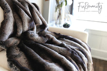Load image into Gallery viewer, close up photo of black and gray or silver striped plush chinchilla faux fur twin size blanket. American made by FuRmanity