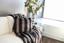 Load image into Gallery viewer, close up photo of black and gray or silver striped plush chinchilla faux fur throw and pillow. American made by FuRmanity