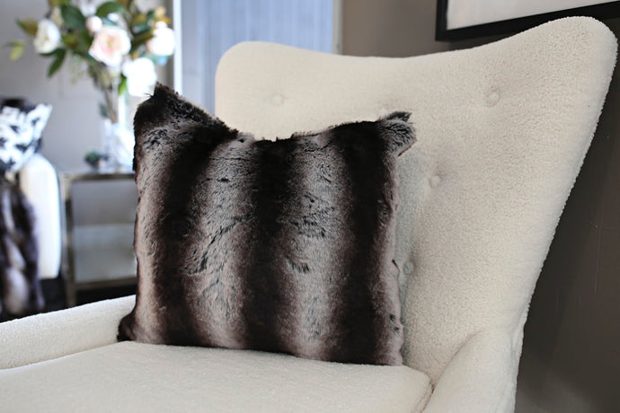 Black Chinchilla Animal Print Vegan Fur Home Decor Pillow - Furmanity