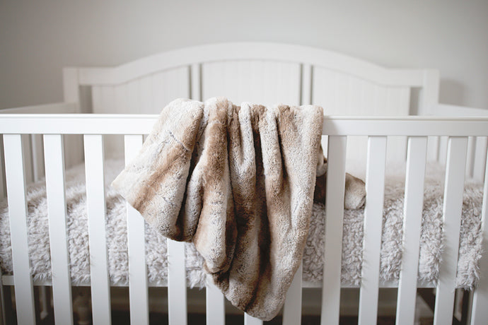 brown striped faux fur animal print kid's blanket. Perfect for little boys to keep them warm