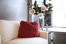 Load image into Gallery viewer, red faux fur pillow for eclectic home decor or bobo themed home interior rooms