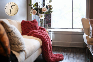 Pink/Red Plush Vegan Fur Kid to Adult Blanket | Cabernet - Furmanity