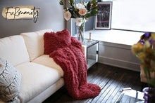 Load image into Gallery viewer, Pink/Red Plush Vegan Fur Kid to Adult Blanket | Cabernet - Furmanity