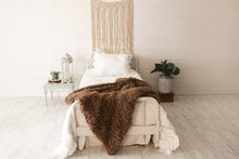 Load image into Gallery viewer, thick and heavy, warm, brown faux fur blanket by FuRmanity on white bed