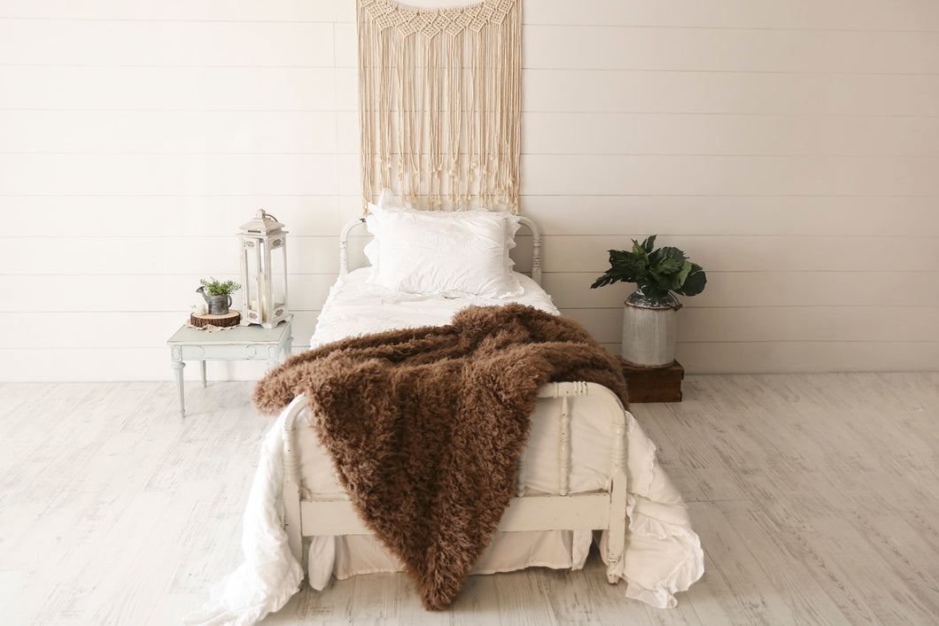 thick and heavy, warm, brown faux fur blanket by FuRmanity on white bed