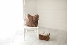Load image into Gallery viewer, medium brown luxury, american made, faux fur accent pillow on chair