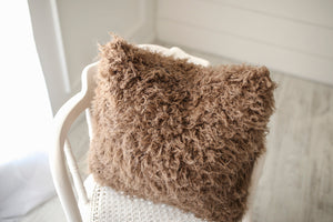 medium brown luxury, american made, faux fur accent pillow