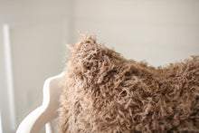 Load image into Gallery viewer, close up texture photo of medium brown luxury, american made, faux fur accent pillow