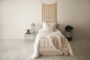 bridal shower gift for new home, white vegan fur throw and pillow for luxury homes