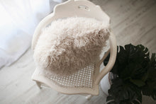 Load image into Gallery viewer, cool, off white, faux fur luxury accent pillow by FuRmanity on chair