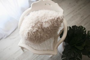 cool, off white, faux fur luxury accent pillow by FuRmanity on chair