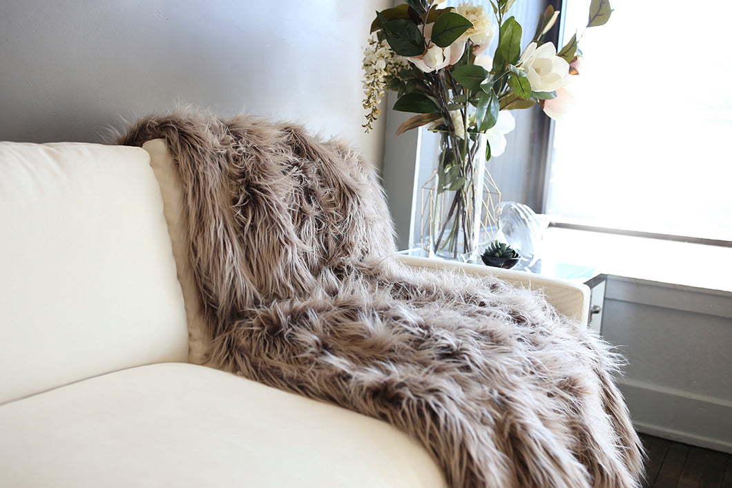two toned brown faux fur long fur throw or blanket. Handmade in USA by FuRmanity with Custom Photo Props furs