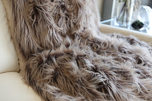 cruelty free, long, straight and plush, double sided American made fur blanket