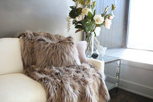 two toned brown faux fur long fur pillow. Handmade in USA by FuRmanity with Custom Photo Props furs. Matching living room throw