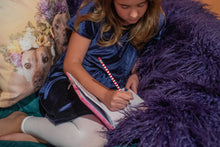 Load image into Gallery viewer, grape purple faux fur throw blanket for little girls bedroom or playroom. warm and double sided fur. made in America/usa