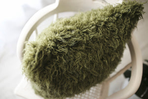 green faux fur pillow for Christmas decorating. Luxury home pillows by FuRmanity